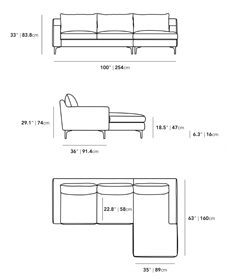 Dimensions for Sophia Sectional