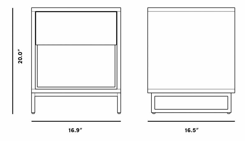 Dimensions for Soren Nightstand
