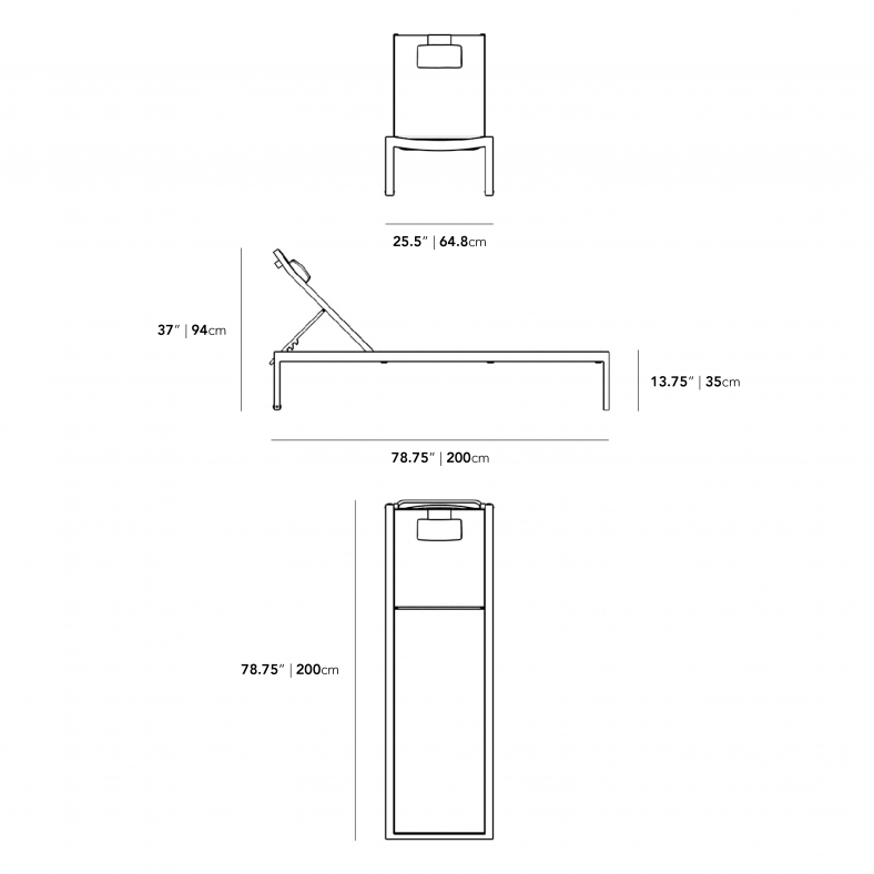 Dimensions for Spencer Outdoor Lounger