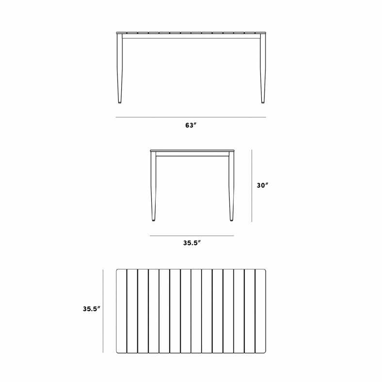Dimensions for Spencer Outdoor Dining Table