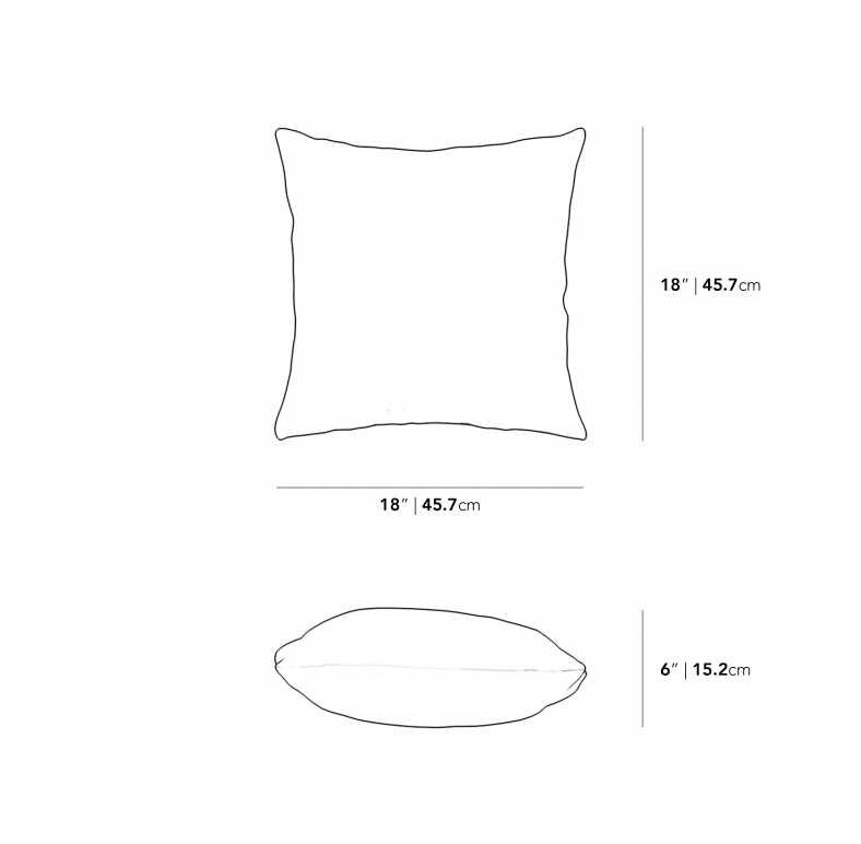 Dimensions for Square Outdoor Throw Pillow