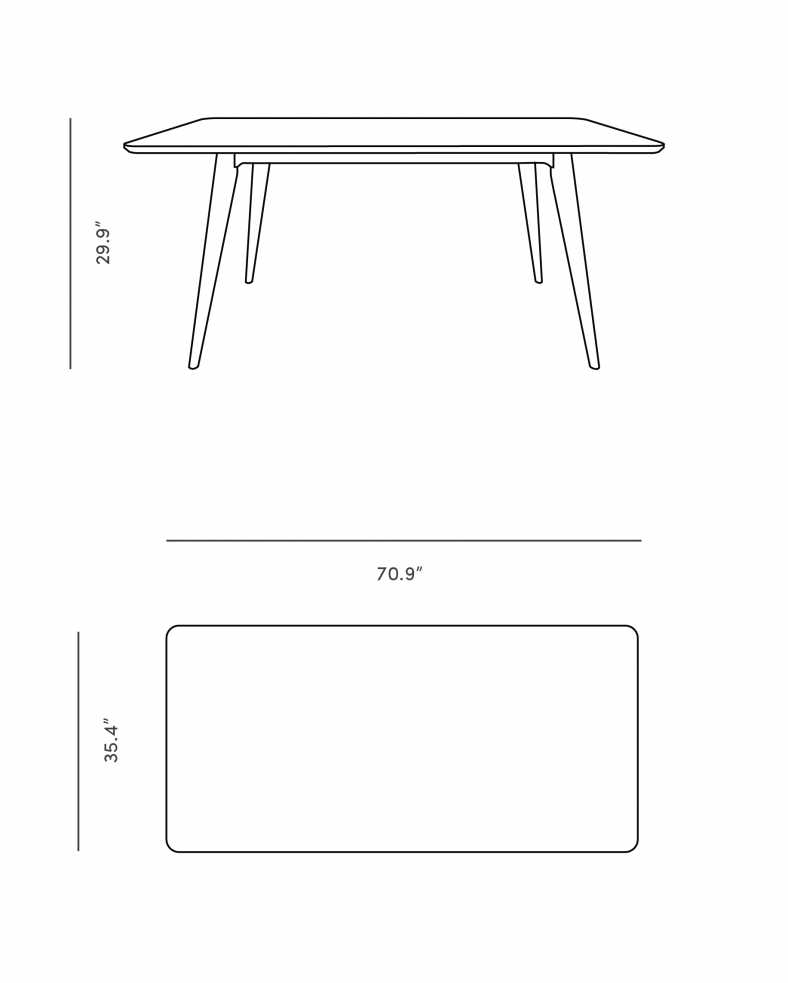 Dimensions for Sven Dining Table