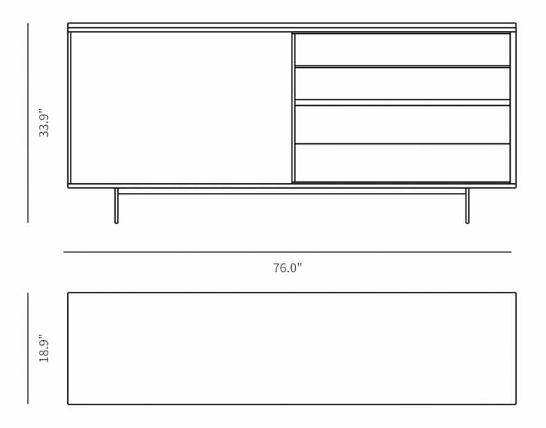 Dimensions for Tanner Sideboard