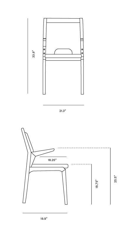 Dimensions for Tobias Dining Chair