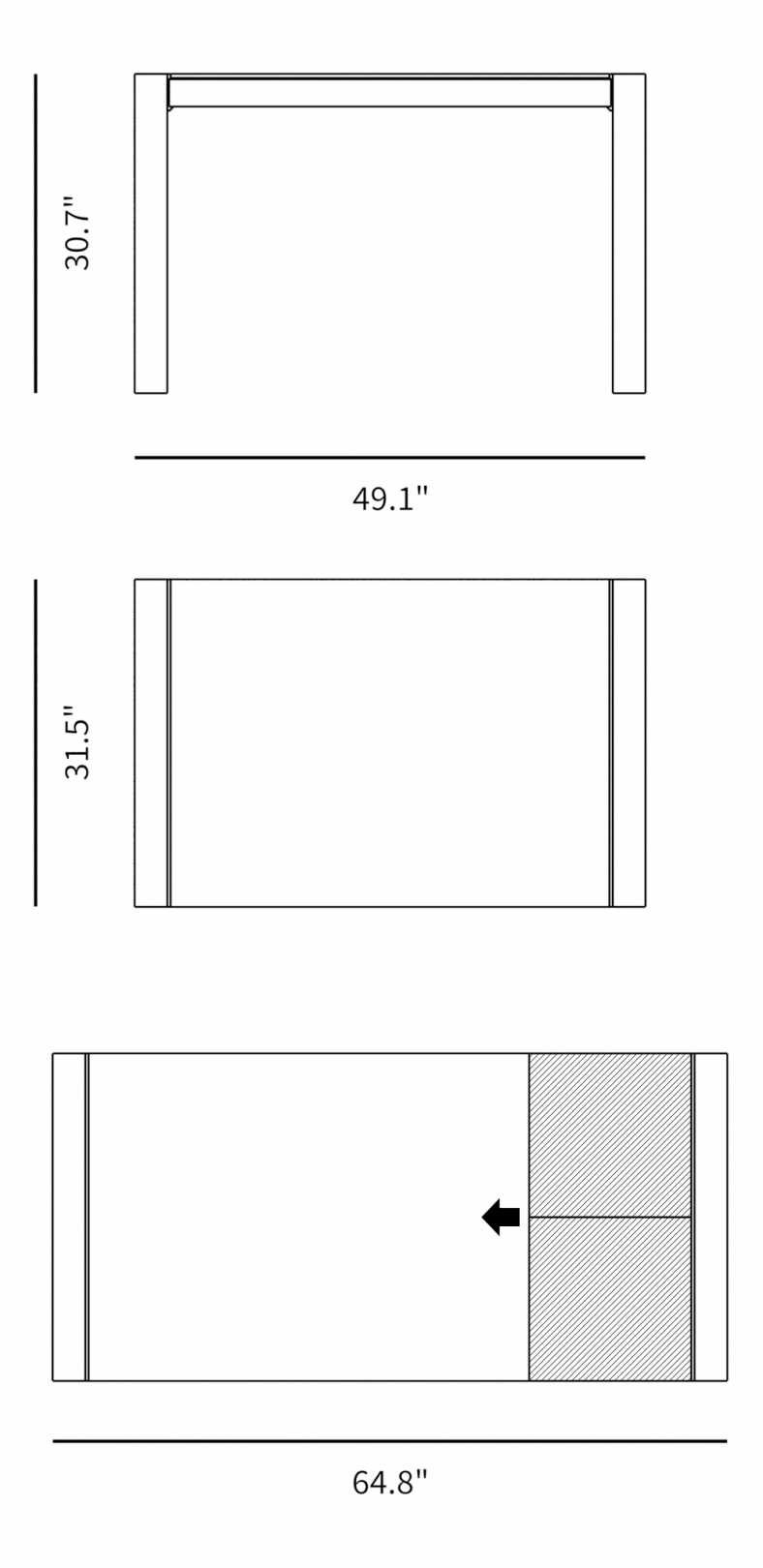 Dimensions for Truman Dining Table