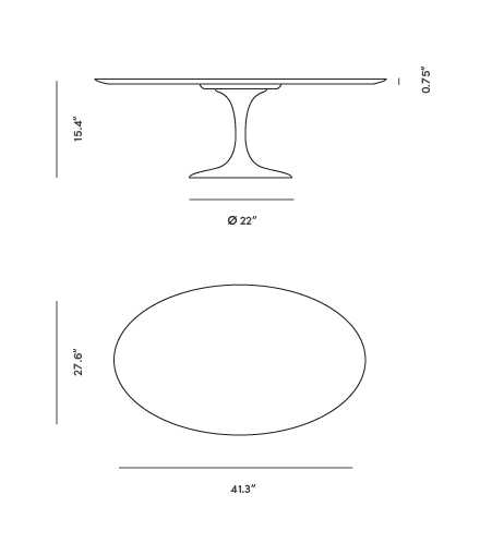 Dimensions for Tulip Coffee Table - Oval