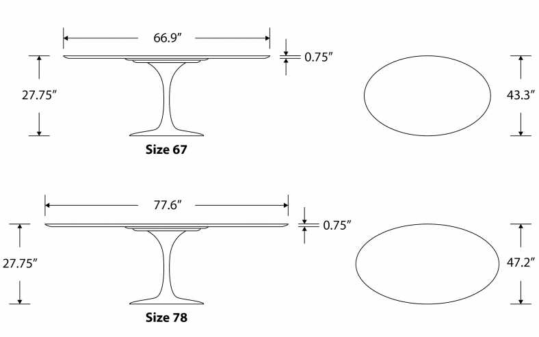 Dimensions for Tulip Table Oval - Calacatta