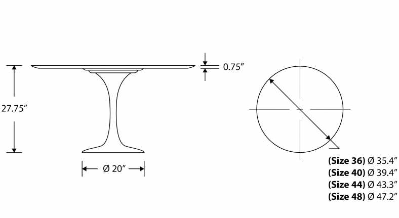 Dimensions for Tulip Table Round - Calacatta Gold
