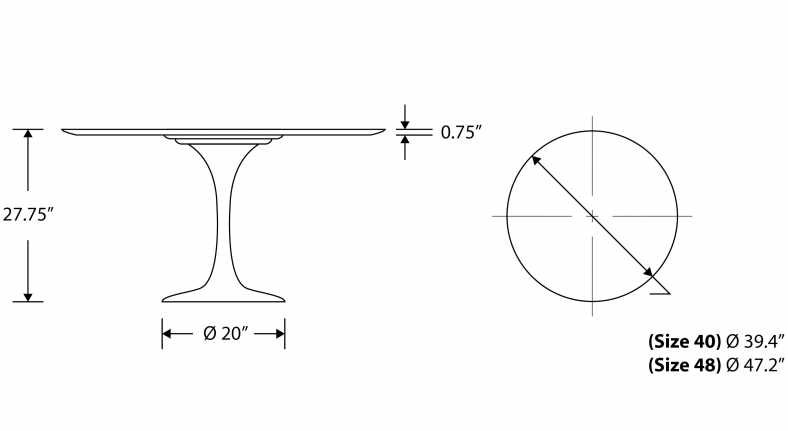 Dimensions for Tulip Table Round - Walnut