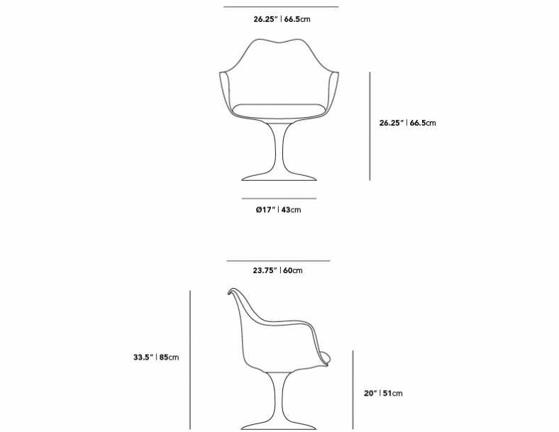 Dimensions for Tulip Armchair