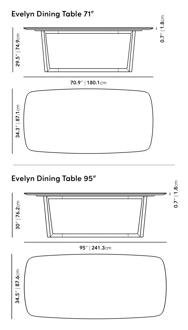 Dimensions for Evelyn Dining Table