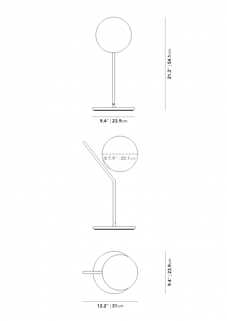 Dimensions for Iris Table Lamp - High
