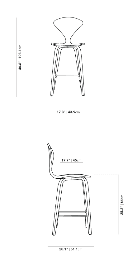 Dimensions for Norman Counter Stool