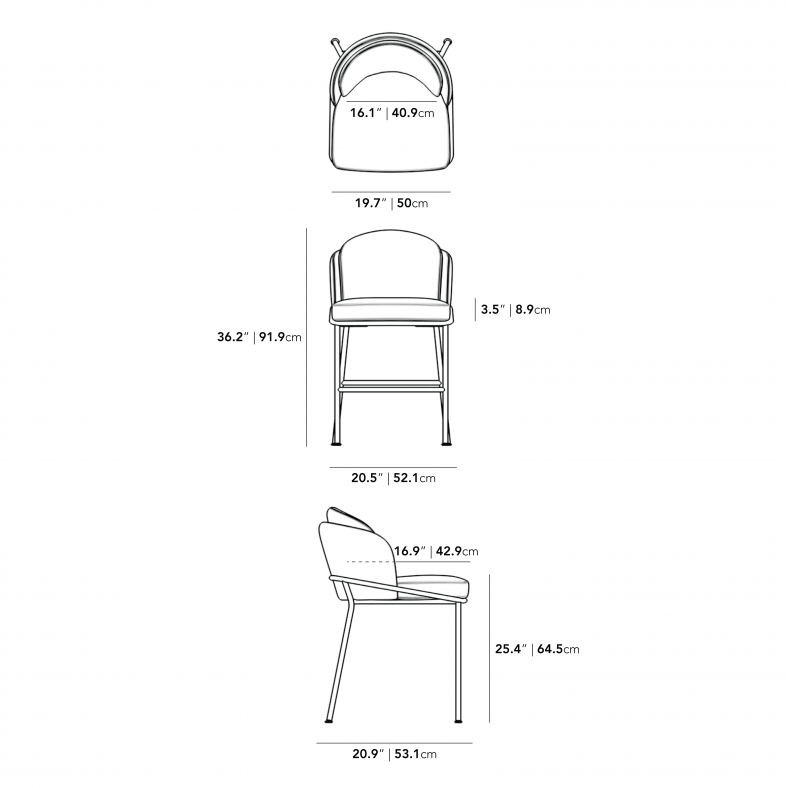 Dimensions for Angelo Counter Stool