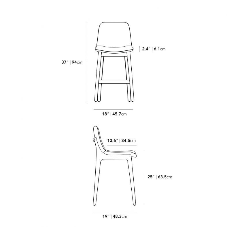 Dimensions for Aubrey Counter Stool