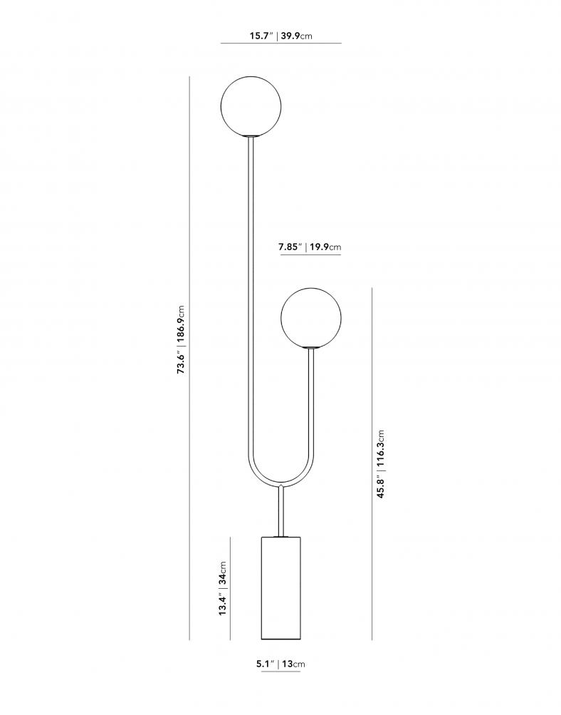 Dimensions for Uma Floor Lamp
