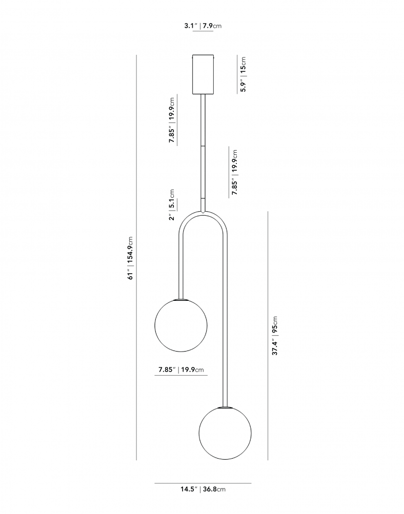 Dimensions for Uma Pendant