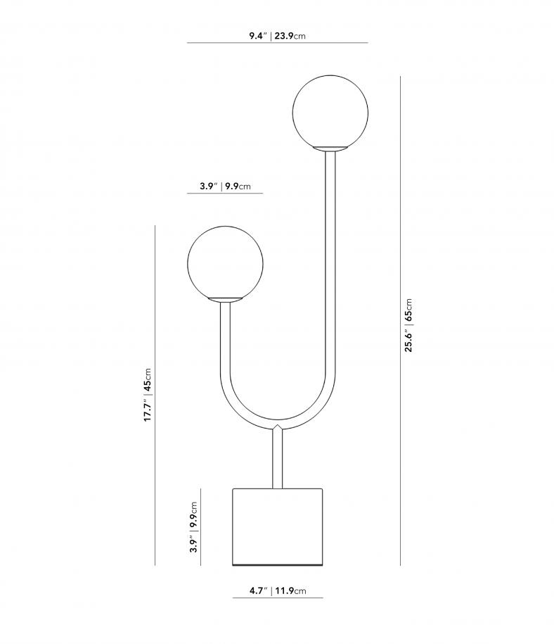 Dimensions for Uma Table Lamp