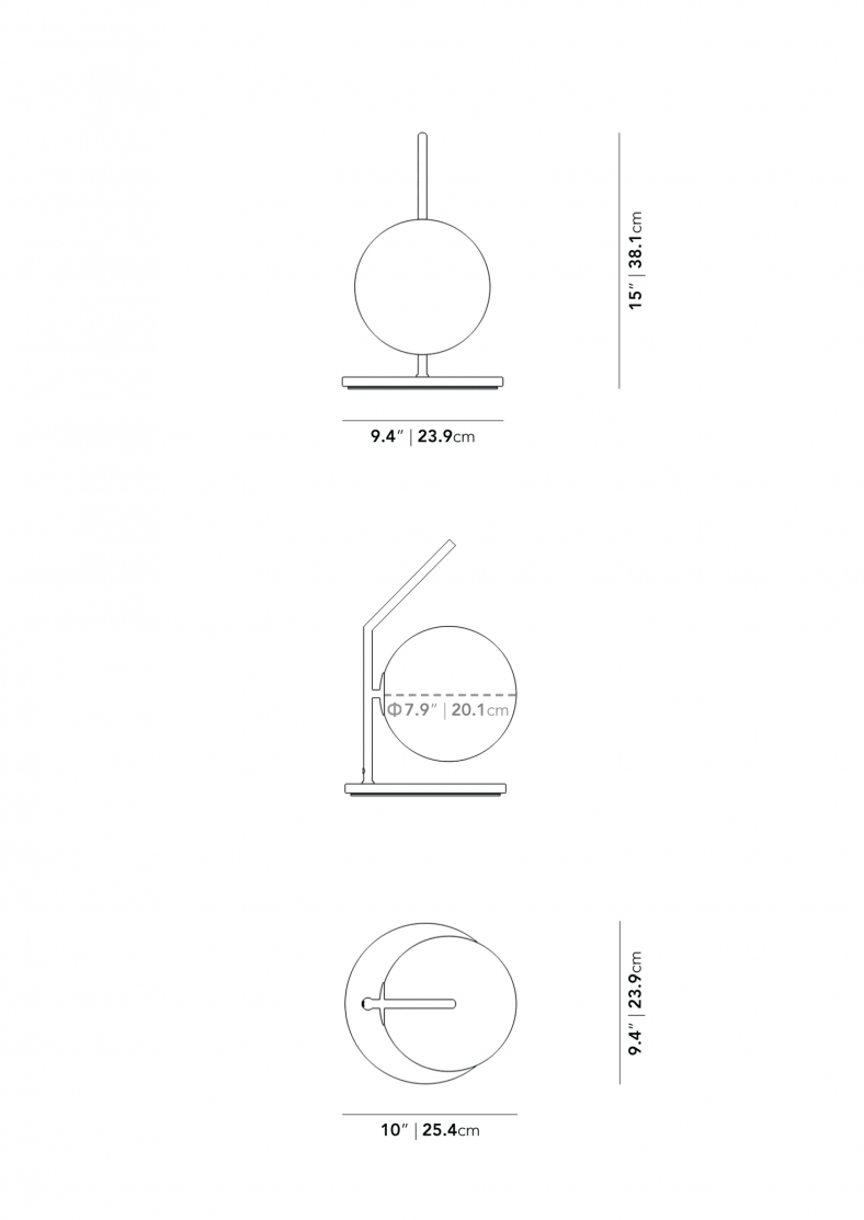 Dimensions for Iris Table Lamp - Low