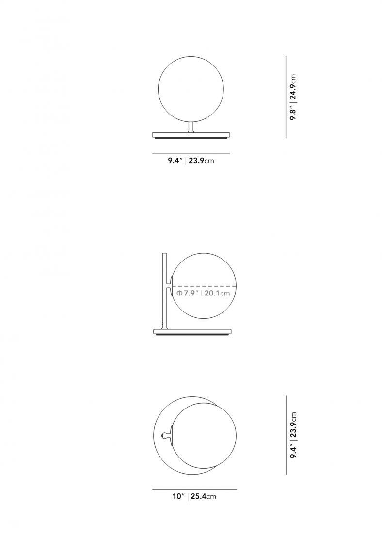 Dimensions for Iris Table Lamp - Petite