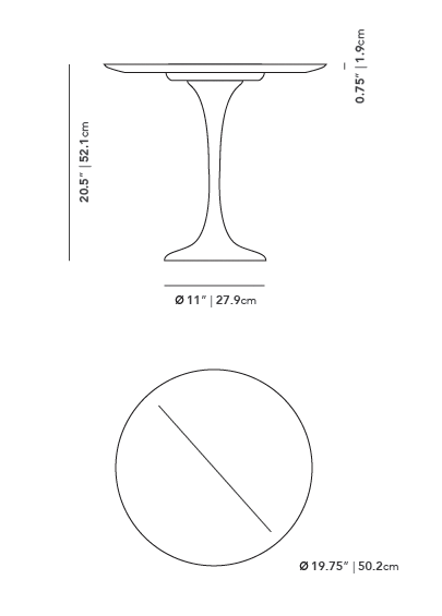 Dimensions for Tulip Side Table