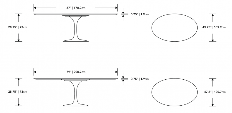 Dimensions for Tulip Table Oval - Lacquer