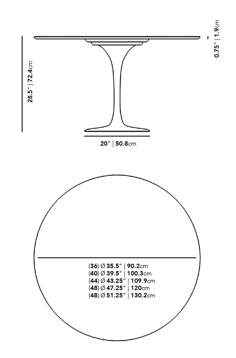Dimensions for Tulip Table Round - Carrara