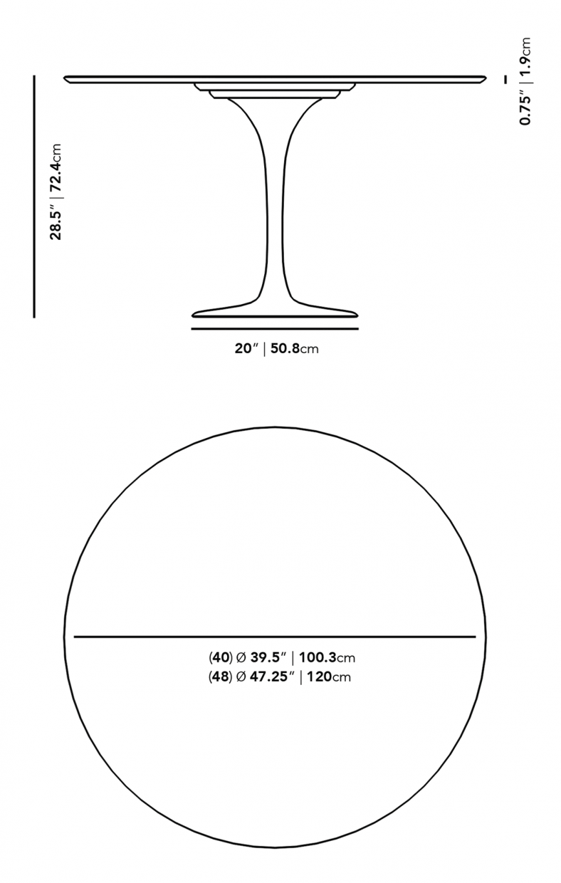 Dimensions for Tulip Table Round - Lacquer