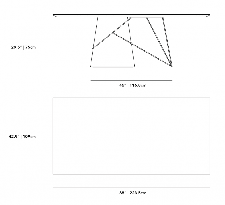 Dimensions for Winston Rectangular Table