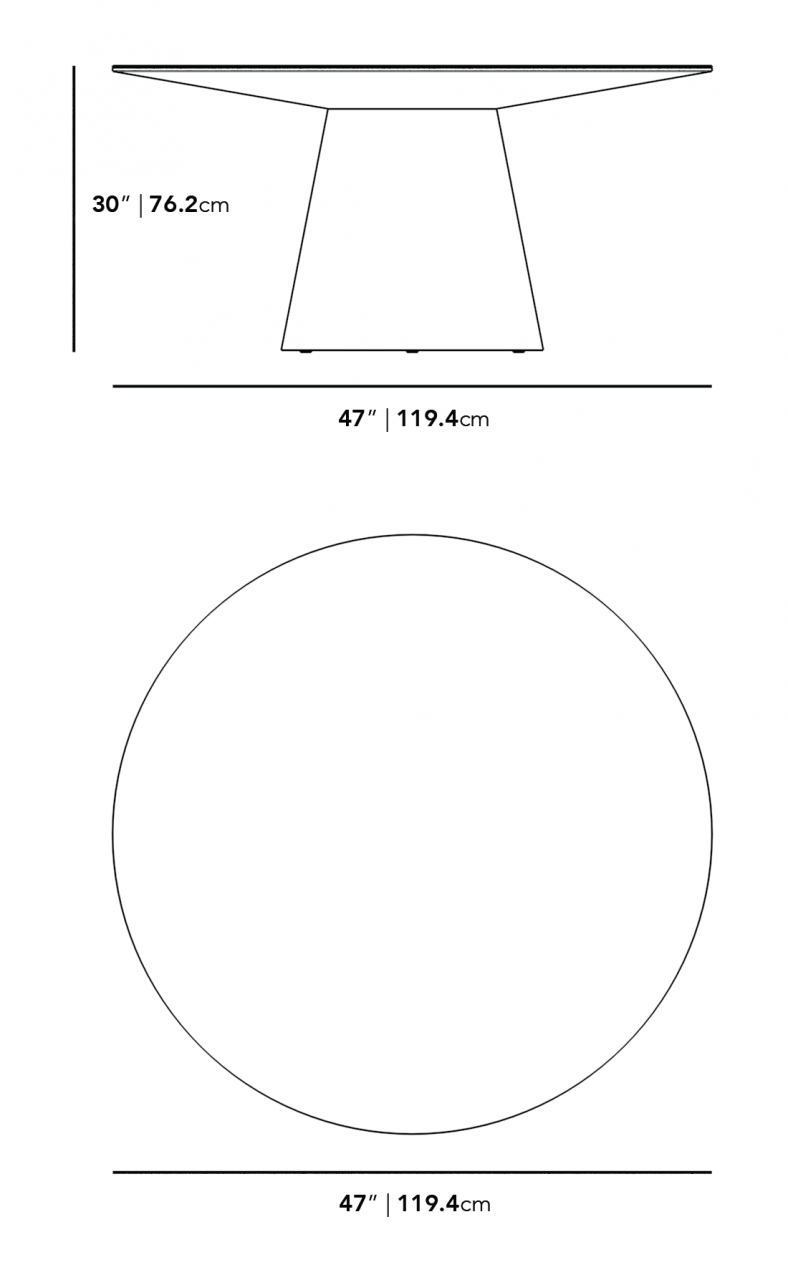 """Dimensions for Winston Dining Table - 47"""" European Ceramic"""