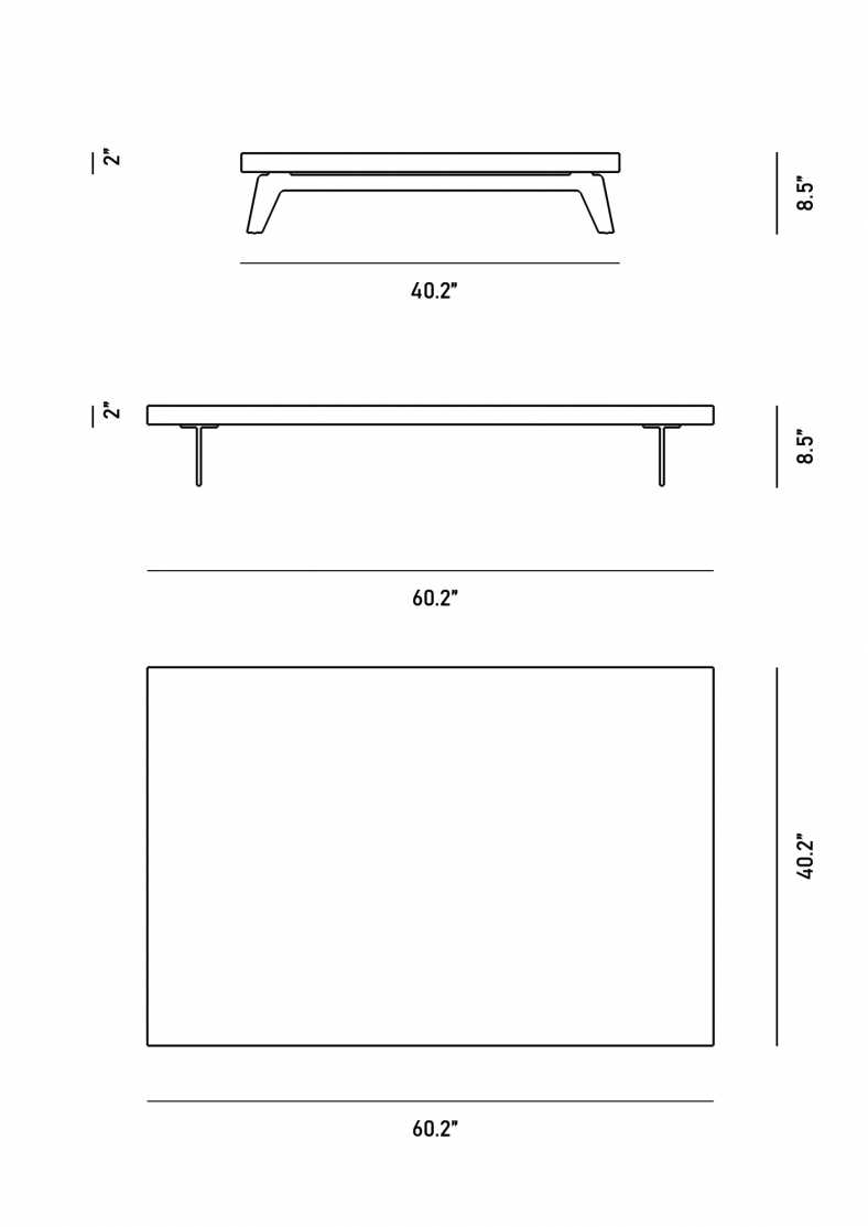 Dimensions for Voltaire Coffee Table