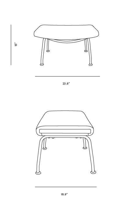 Dimensions for Wing Chair Ottoman