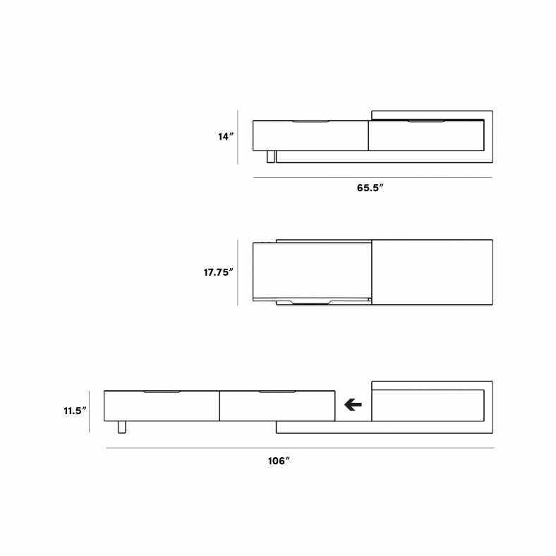 Dimensions for Winston Media Console - Small