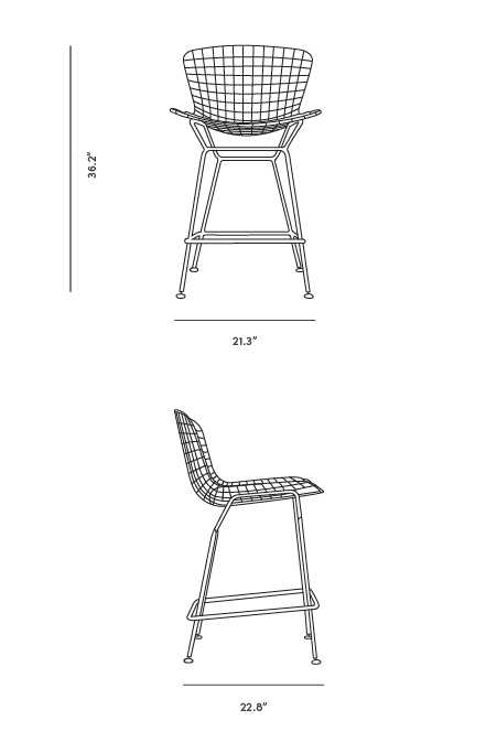 Dimensions for Wire Counter Stool