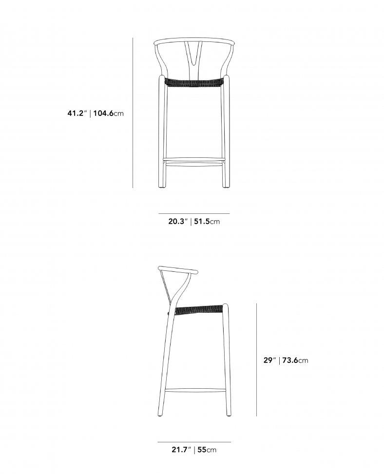 Dimensions for Wishbone Outdoor Barstool