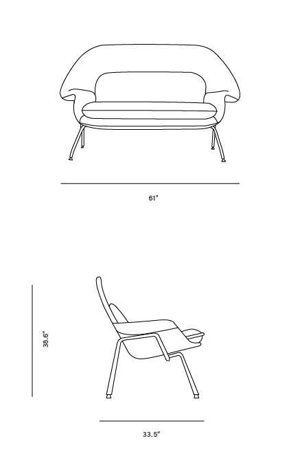 Dimensions for Womb Settee