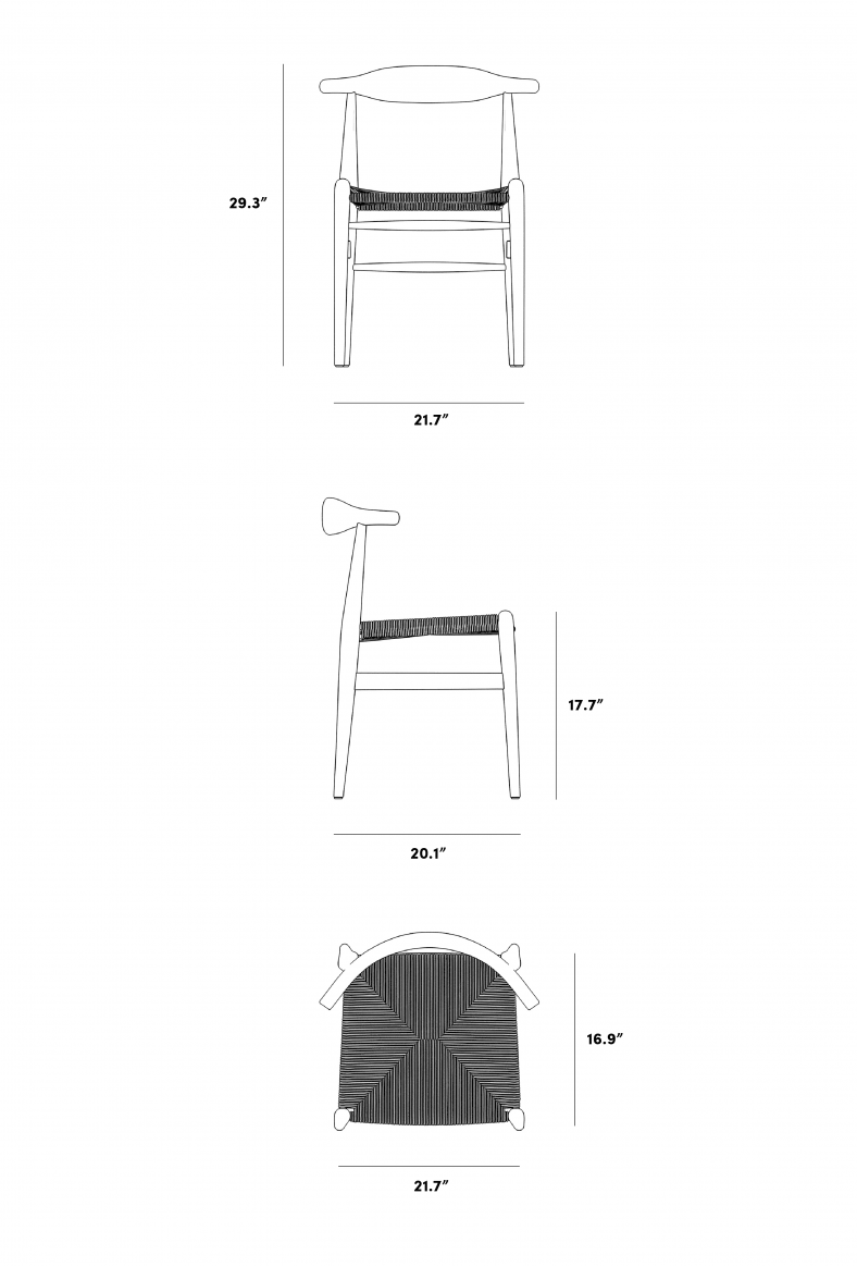 Dimensions for Elbow Chair - Woven