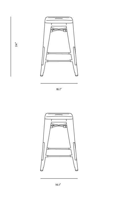 Dimensions for Xavier Pauchard Tolix Counter Stool - Galvanized