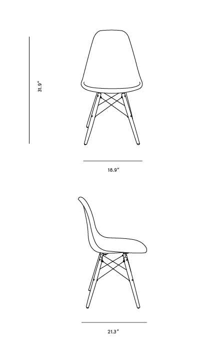 Dimensions for DSW Chair - Upholstered Fiberglass