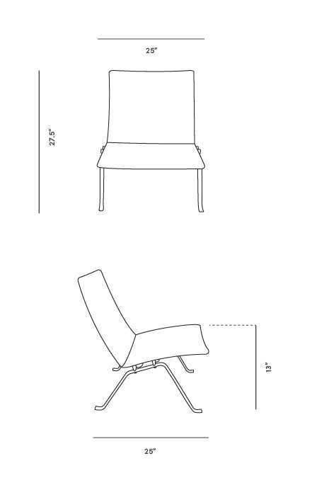 Dimensions for PK22 Easy Chair