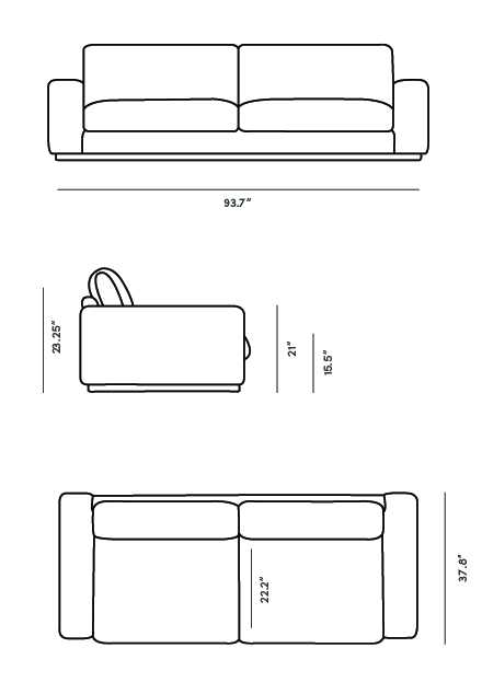 Dimensions for Noah Sofa