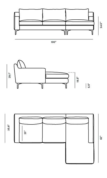 Dimensions for Sophia Sectional 2016