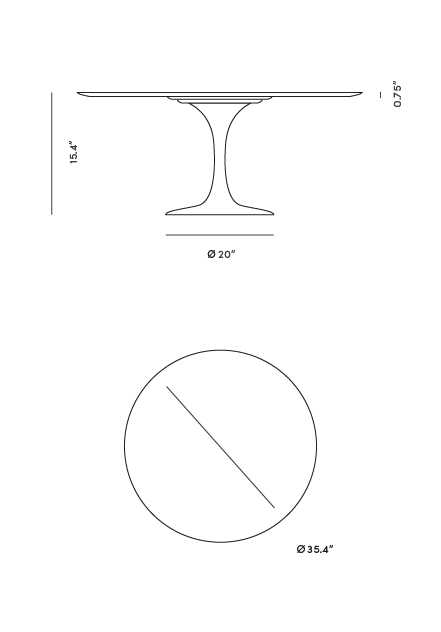 Dimensions for Tulip Coffee Table - Round