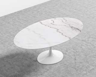 Tulip Table Oval Calacatta Gold Marble Mid Century Modern