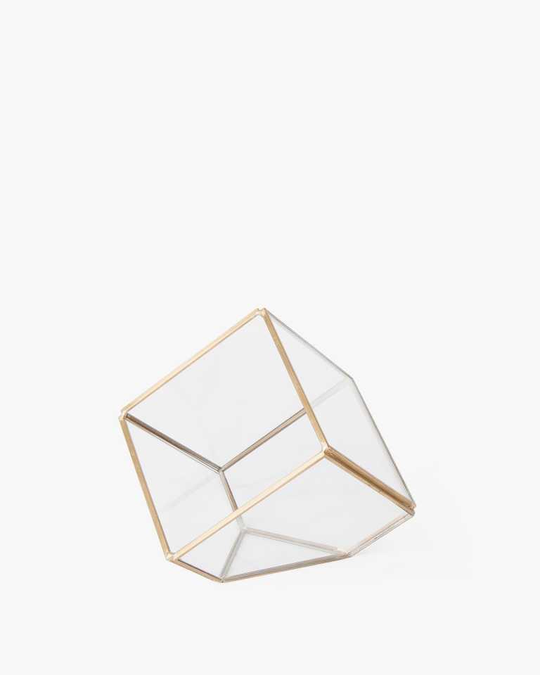 "Cubed Glass Terrarium - Copper 4"""