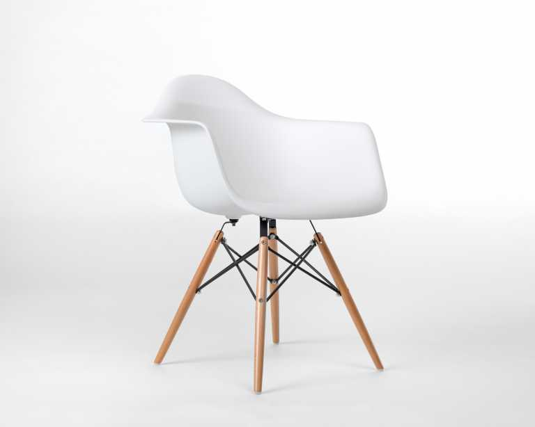 DAW Molded Plastic Armchair Wooden Dowel Base DAW Designer Chair