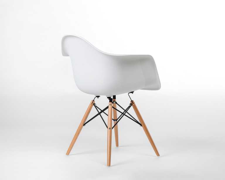DAW Molded Plastic Armchair Wooden Dowel Base | DAW | Designer Chair