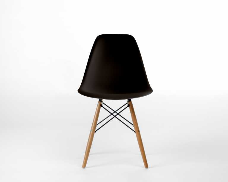 DSW Molded Plastic Side Chair Wooden Dowel Base DSW Modern Chair