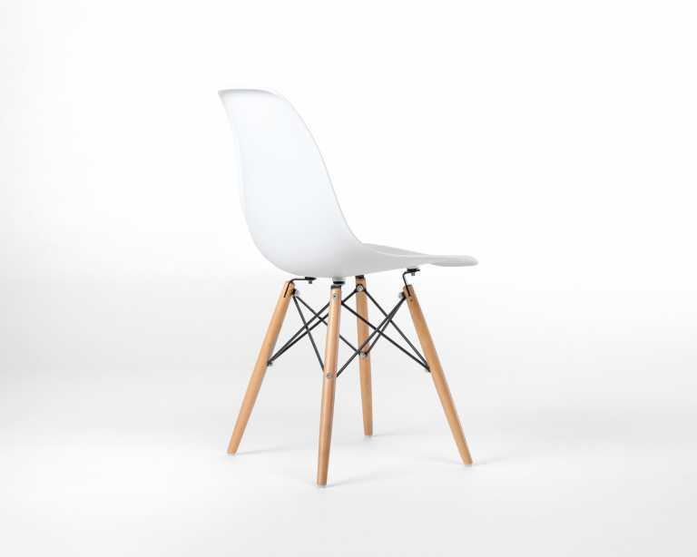 dsw molded plastic side chair wooden dowel base  dsw  modern chair - rove classics