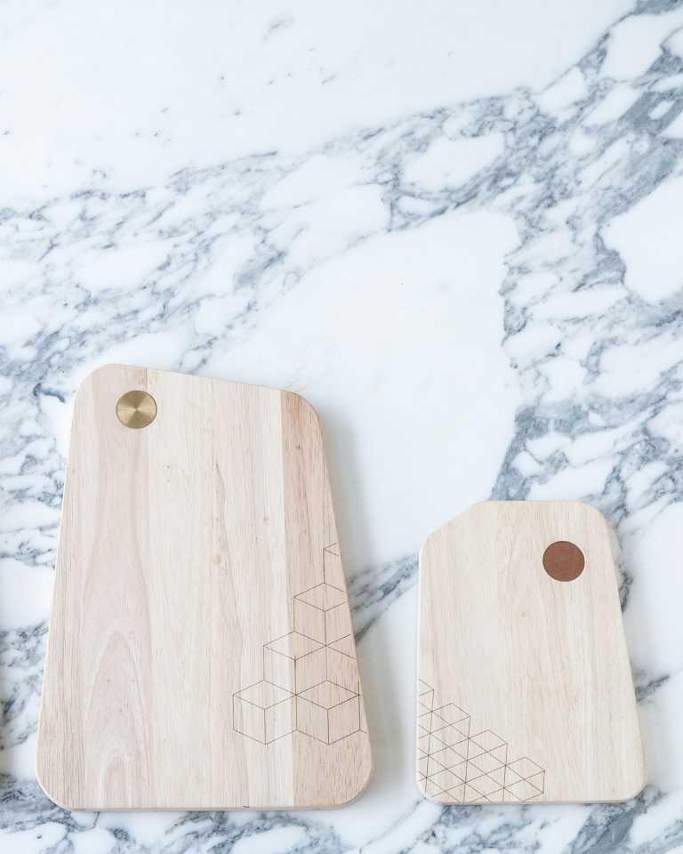 Rubberwood Cutting Board - Copper Oblique